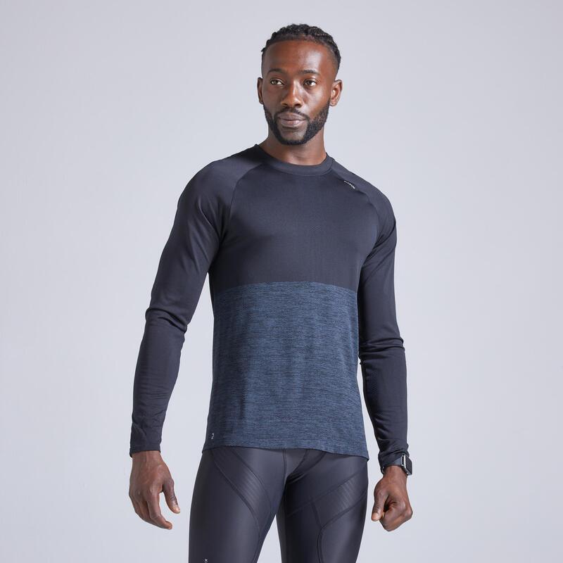 Camiseta Running Kiprun Care Hombre Negro Transpirable Manga Larga
