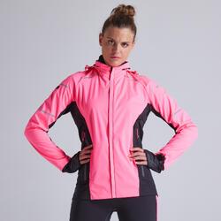 Giacca running donna KIPRUN WARM REGUL rosa fluo