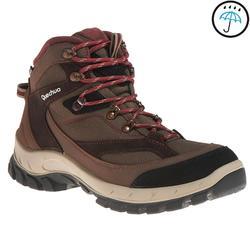 Botas de travesía montaña mujer Forclaz 100 Caña alta Impermeables marrón