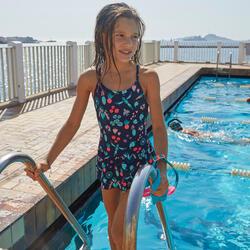 Fato de banho de natação menina com saia Lila All Omi azul marinho