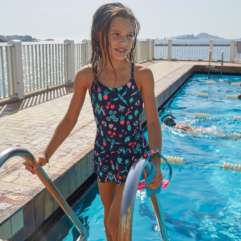 Costum întreg cu fustiță înot Lila Bleumarin Fete