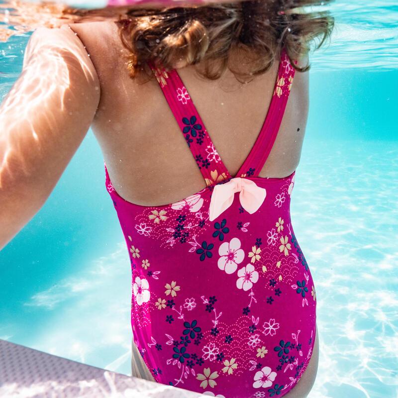Fato de banho de Natação Bebé Menina Rosa Estampado flores