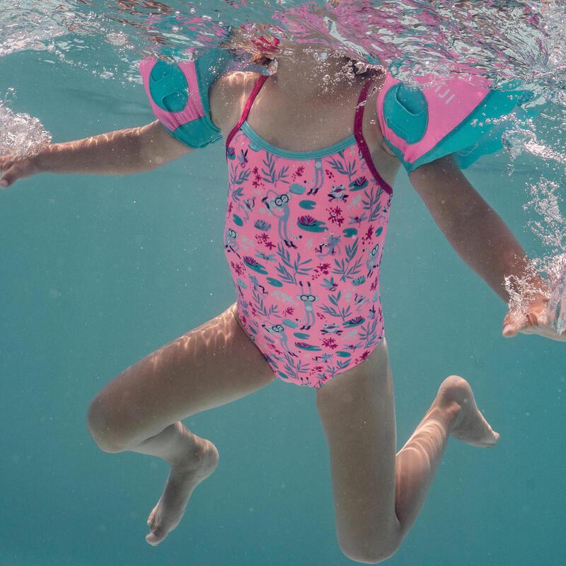 Dívčí jednodílné plavky růžové s potiskem