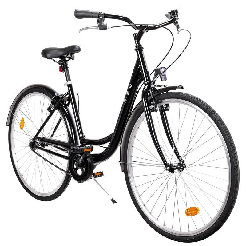 """bici da città WEG telaio basso 28"""" nera monovelocità."""
