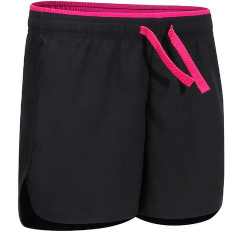 Pantaloncini bambina gym 500 nero-rosa  7f03f622c2d3