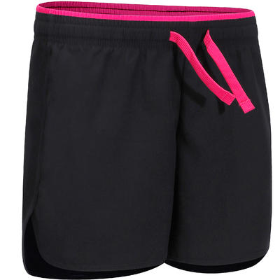 מכנסי ספורט קצרים לילדות W500 - שחור/ורוד