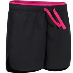 Pantalón Corto De Gimnasia Domyos W500 Transpirable Ajustable Niña Negro Rosa