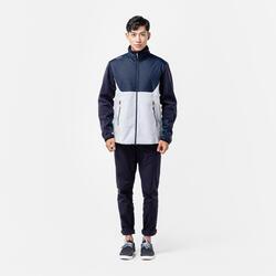 男款保暖航海刷毛外套500-淺灰/藍色
