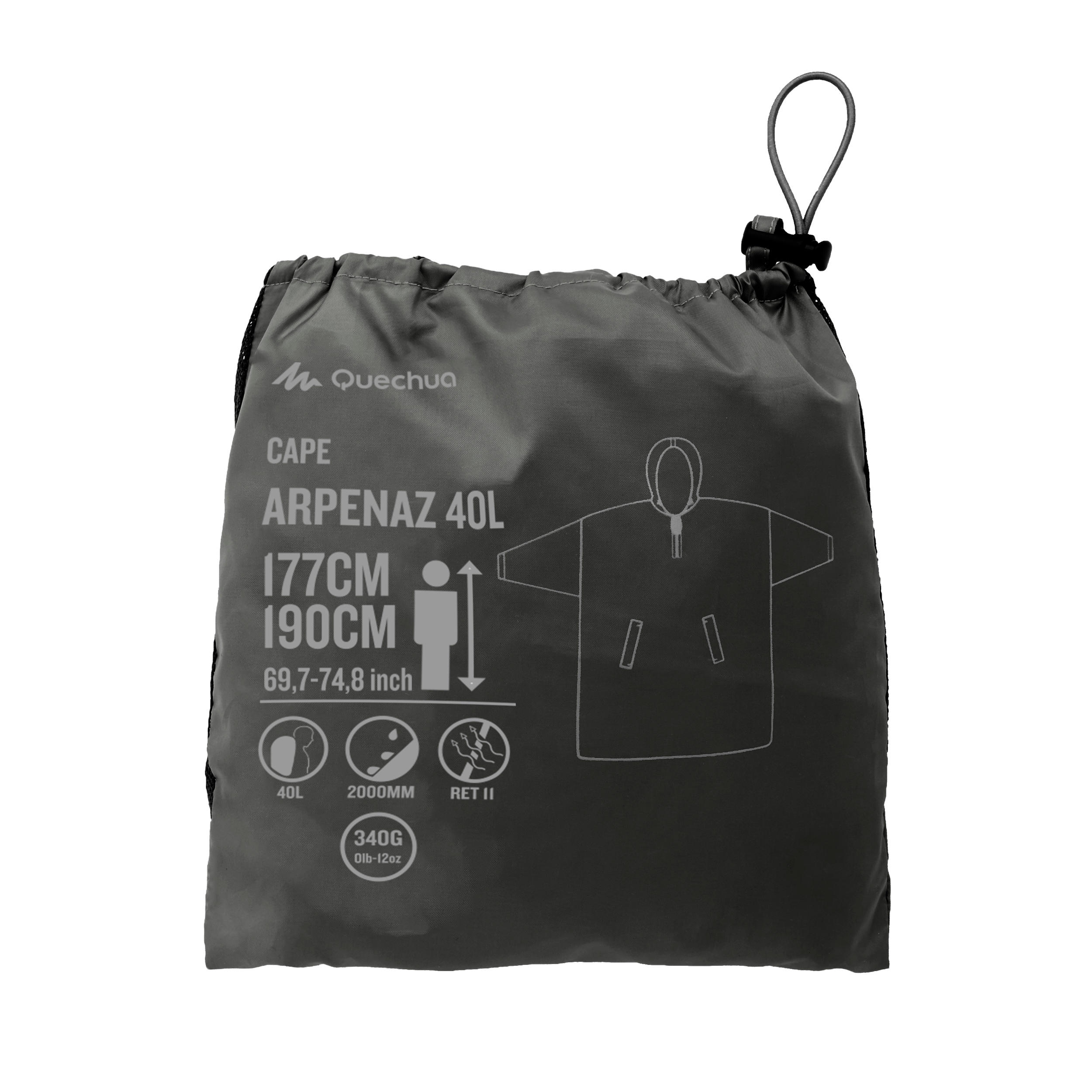 LAdultos Impermeable Arpenaz Oscuro Lluvia 40 Chm Poncho Gris oQhrdCtsxB