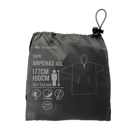 Hiking Rain Poncho - ARPENAZ 40 L - Size L/XL - Grey