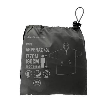 """Pārgājienu lietus pončo """"Arpenaz"""", 40l, izmēri L/XL, pelēks"""