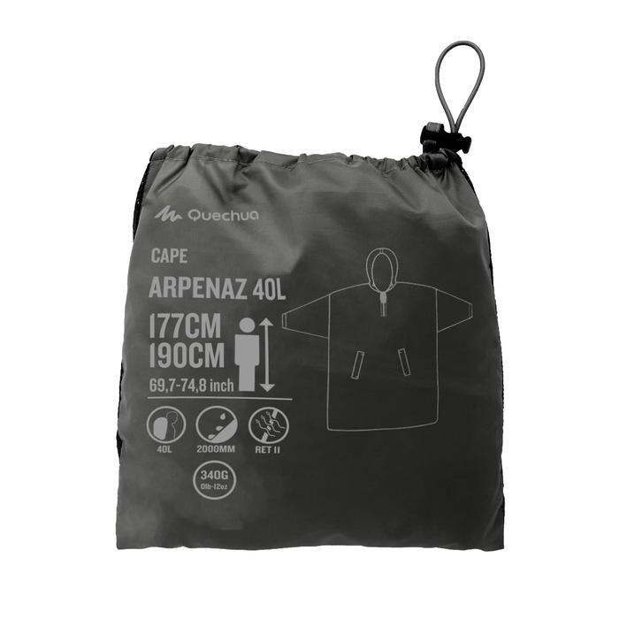 Poncho Regencape Arpenaz 40 Liter 2XS/XS dunkelgrau