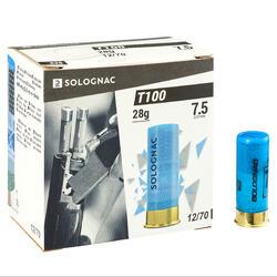 CARTUCHO PARA TIRO AOS PRATOS T100 28 g CAL 12/70 CHUMBO N° 7,5 x250