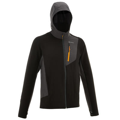 Men's Mountain Trekking Softshell Windbreaker - TREK 900 WIND - black