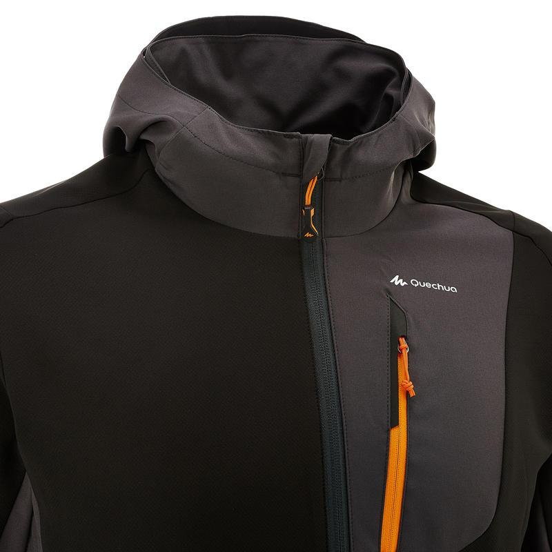 Men's black mountain trekking windbreaker TREK900