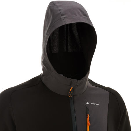 Chamarra de trekking en montaña TREK 900 wind hombre negra