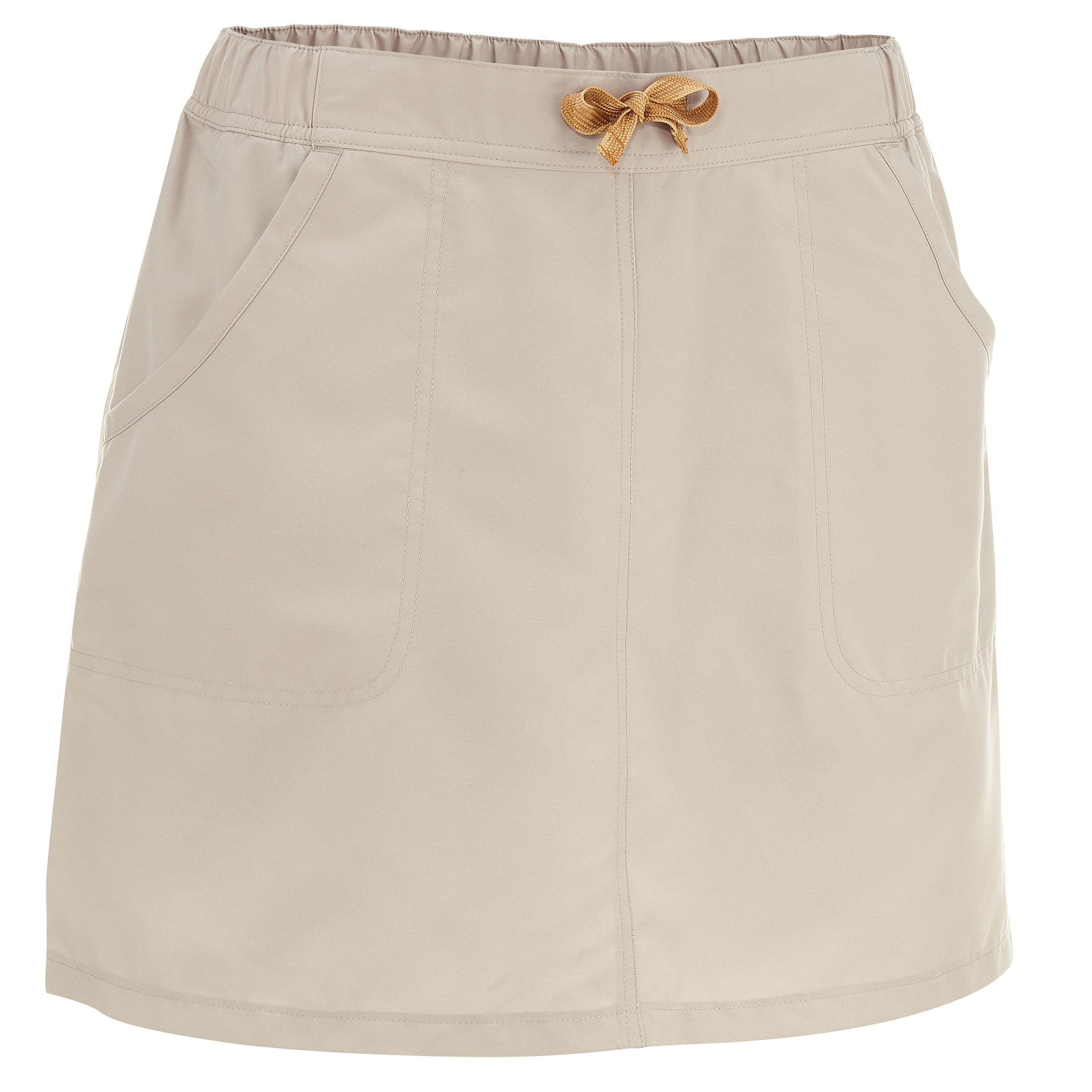 Falda-short de campamento dama Arpenaz 50 beige