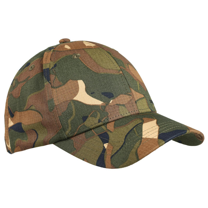 Durable hunting cap 500 - Woodland Camo Green and Brown