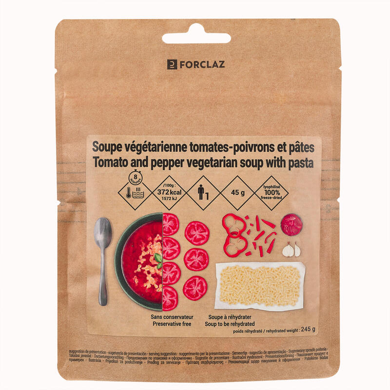 Freeze-Dried Vegetarian Tomato Pepper Pasta Soup For Trekking 65 g