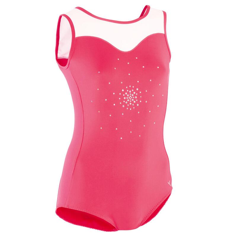 Dámský gymnastický dres 540 bez rukávů růžovo-bílý