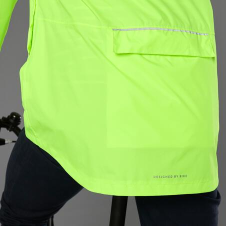 Miesto dviratininko striukė nuo lietaus, neoninė geltona