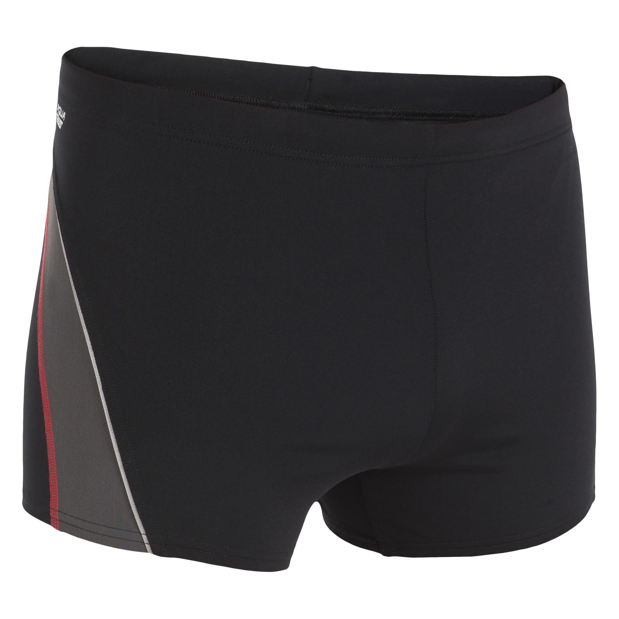 maillot de bain homme boxer 500 fit noir gris nabaiji. Black Bedroom Furniture Sets. Home Design Ideas