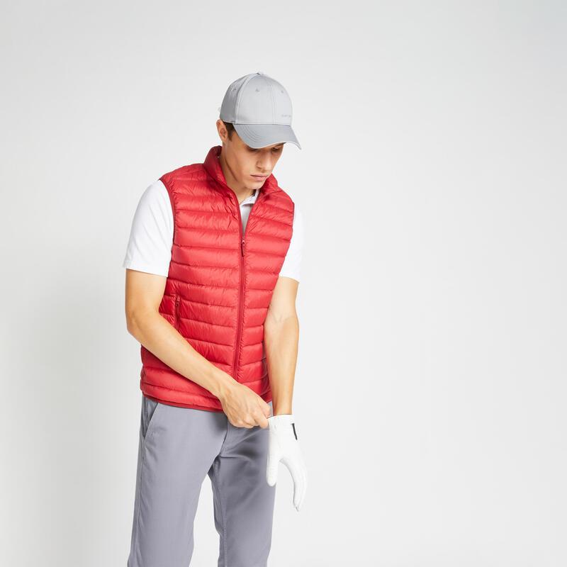 Doudoune duvet sans manches de golf homme MW500 rouge bordeaux
