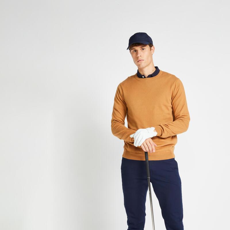 Men's crew-neck golfing pullover MW500 - hazelnut