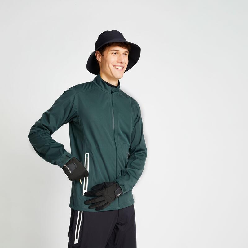 Men's waterproof golfing rain jacket RW500 - green