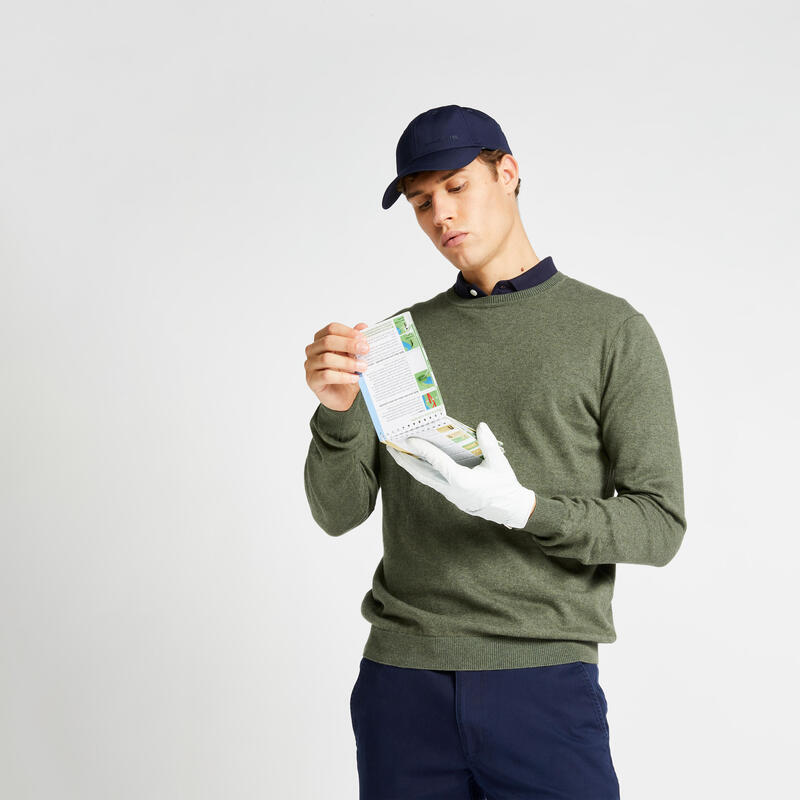 Pull de golf col rond homme MW500 olive noire