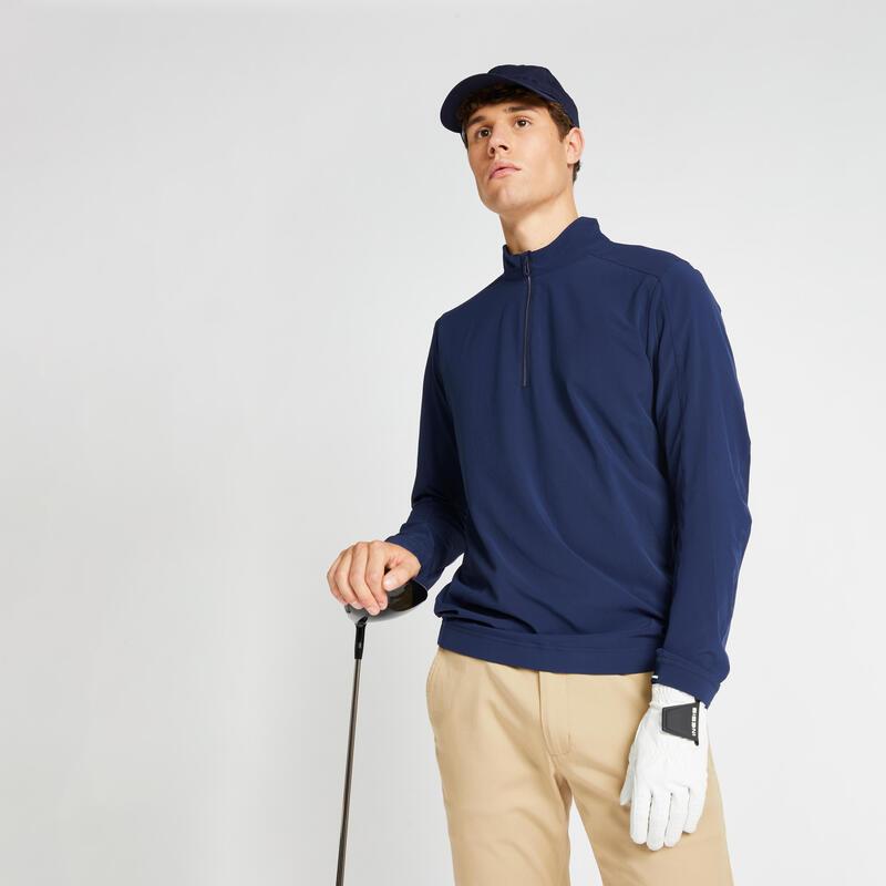 Men's half-zip water-repellent golf windbreaker RW500 - navy blue