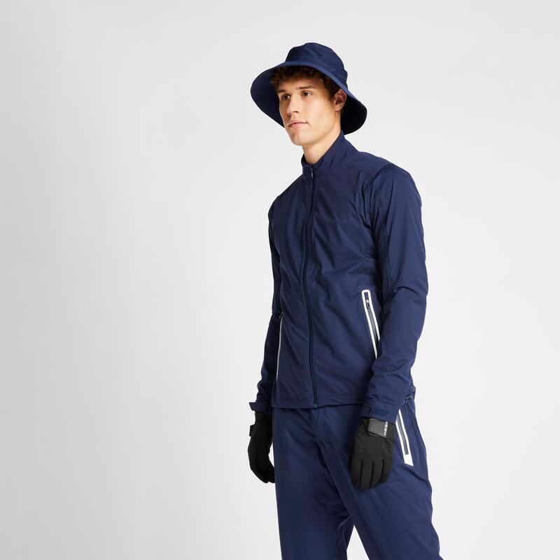 Men's golf waterproof rain jacket RW500 navy blue
