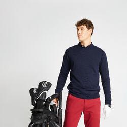 男款高爾夫立領針織衫-軍藍色