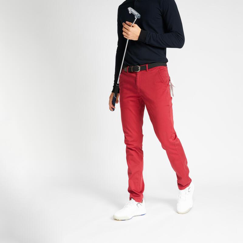 Men's golf trousers MW500 - Dark red