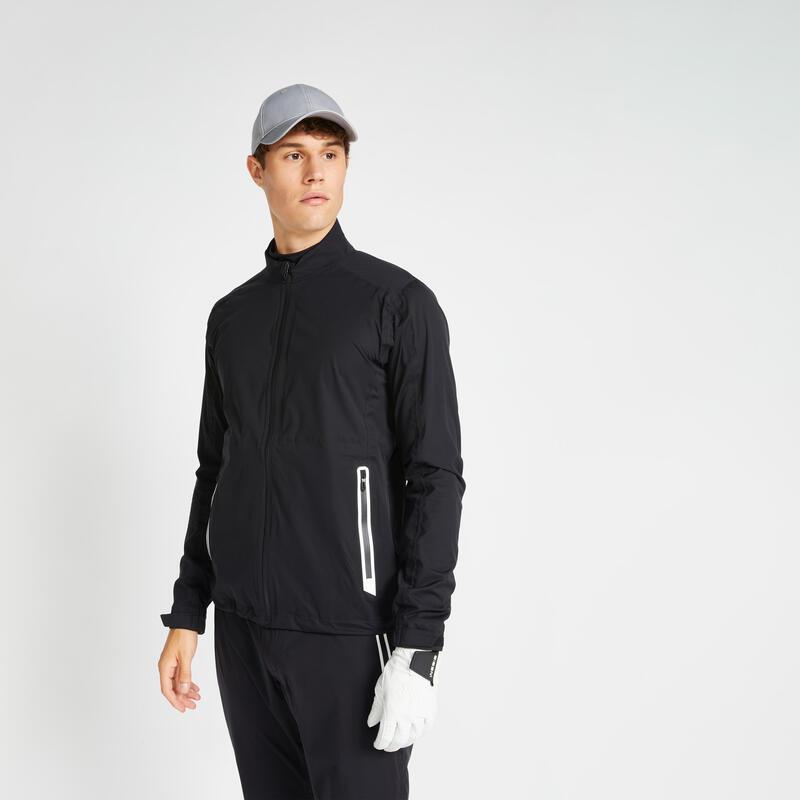 Men's golf waterproof rain jacket RW500 black