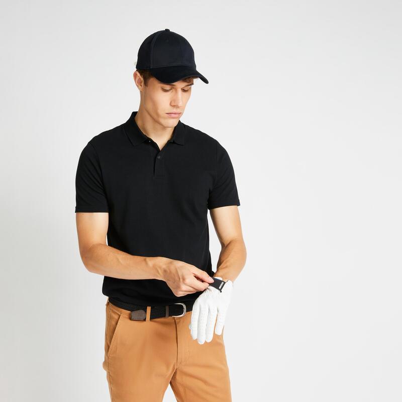 Pánské golfové polo s krátkým rukávem MW500 černé