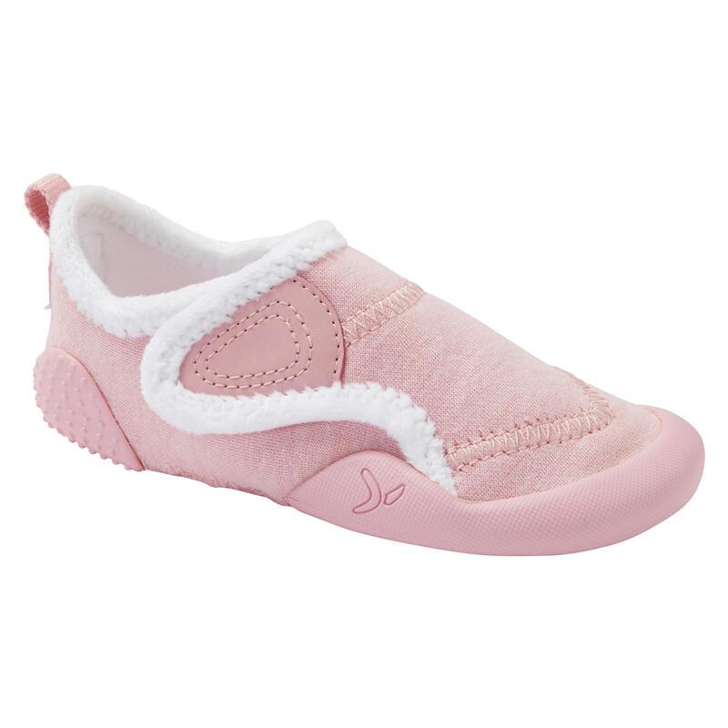 Zapatillas Bebé primeros pasos Domyos 550 forro polar rosa tallas 20 al 30