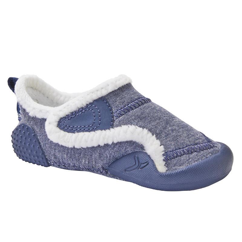 Zapatillas Bebé primeros pasos Domyos 550 forro polar azul tallas 20 al 30