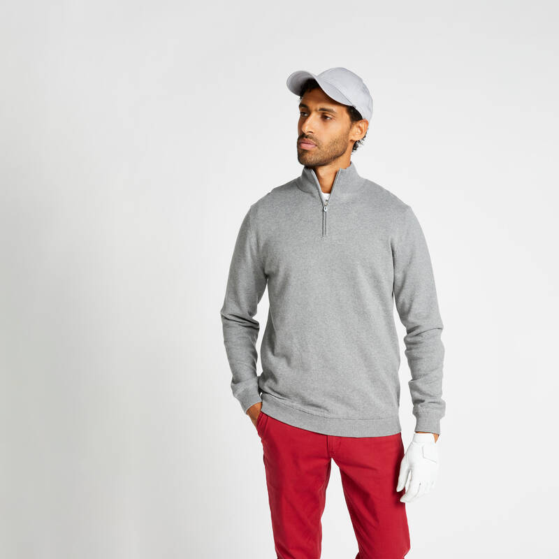 PÁNSKÁ GOLFOVÁ POLA, MÍRNÉ POČASÍ Golf - VĚTRUODOLNÝ SVETR MW500 ŠEDÝ INESIS - Golfové oblečení