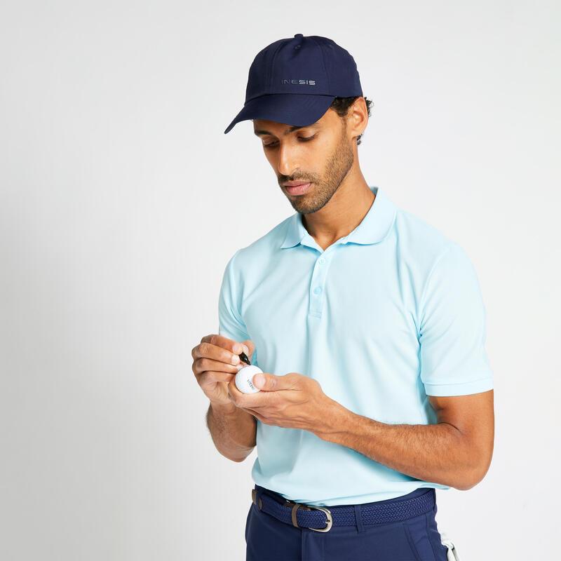 Pánské golfové polo WW500 světle modré