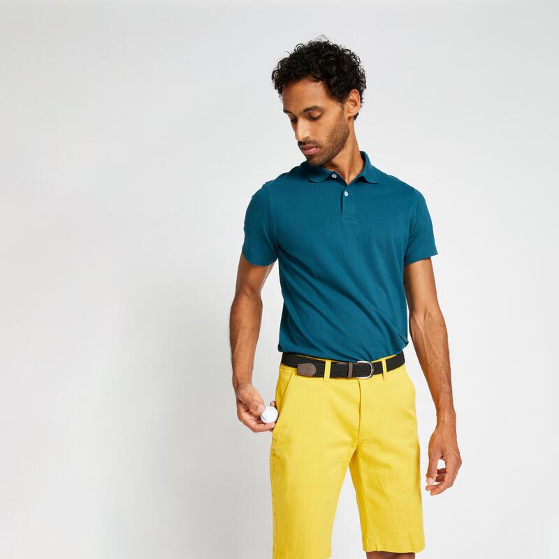 Polo Golf Hombre Azul Petróleo Manga Corta