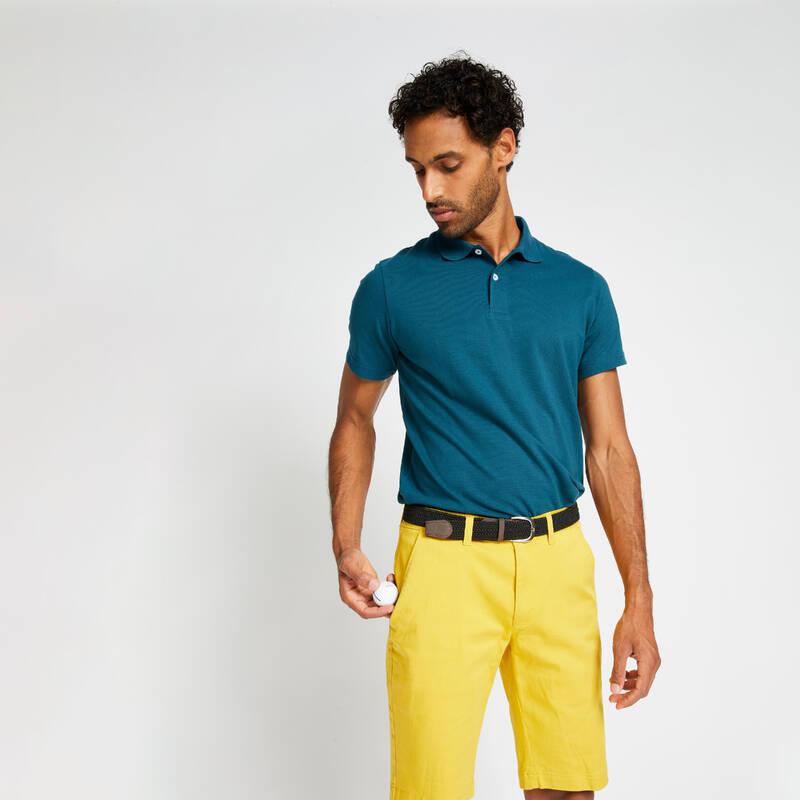 PÁNSKÁ GOLFOVÁ POLA, MÍRNÉ POČASÍ Golf - PÁNSKÉ POLO MW500 PETROLEJOVÉ INESIS - Golfové oblečení