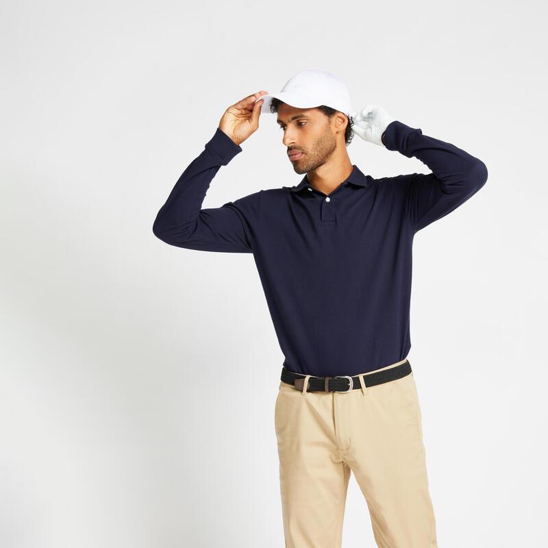 Men's golf long-sleeved polo shirt MW500 navy blue
