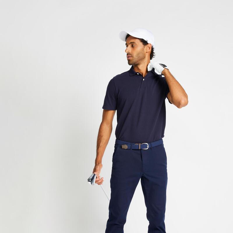 Pánské golfové polo s krátkým rukávem MW500 tmavě modré