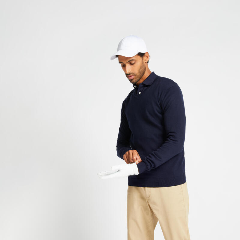 Pull de golf col V homme MW500 bleu marine