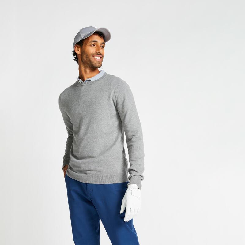 Men's golf crew neck pullover MW500 grey