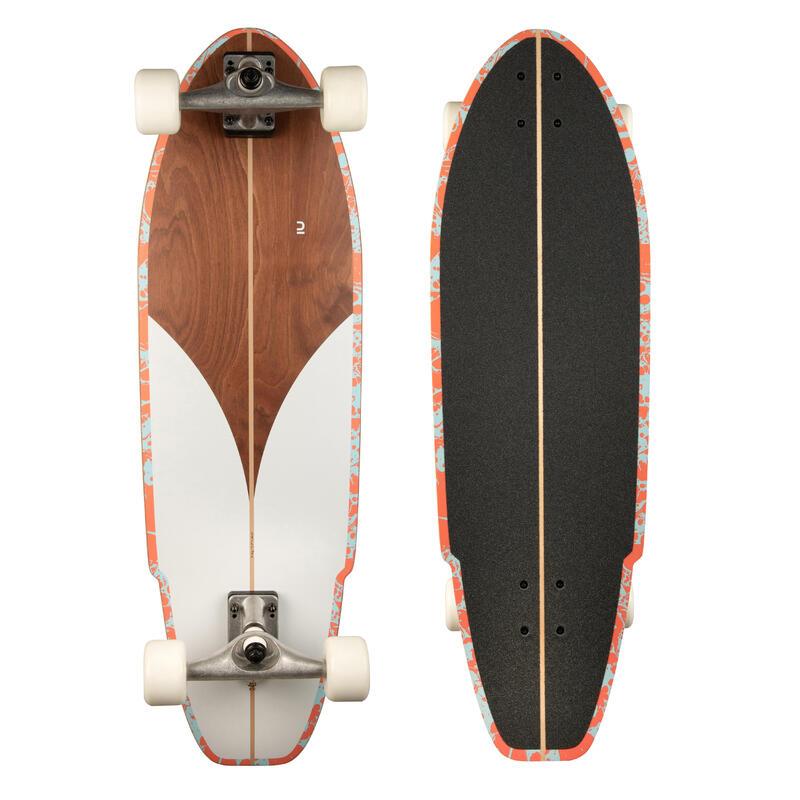 LONGBOARD SURFSKATE CARVE 540 WHITE WOOD