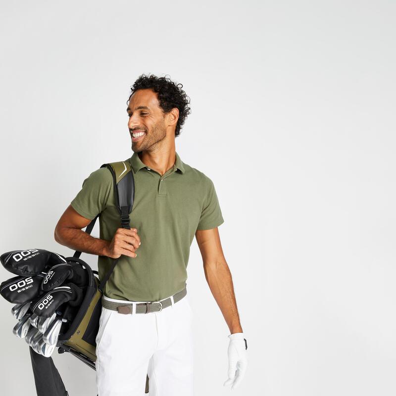Polo Golf MW500 Hombre Caqui Manga Corta