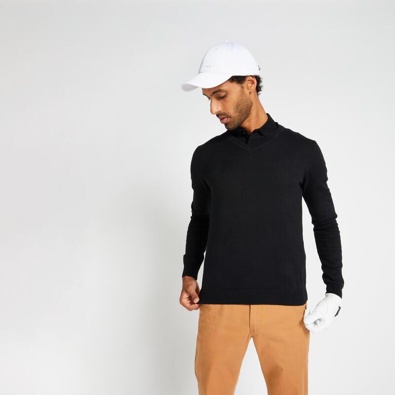 Pull de golf col V homme MW500 noir