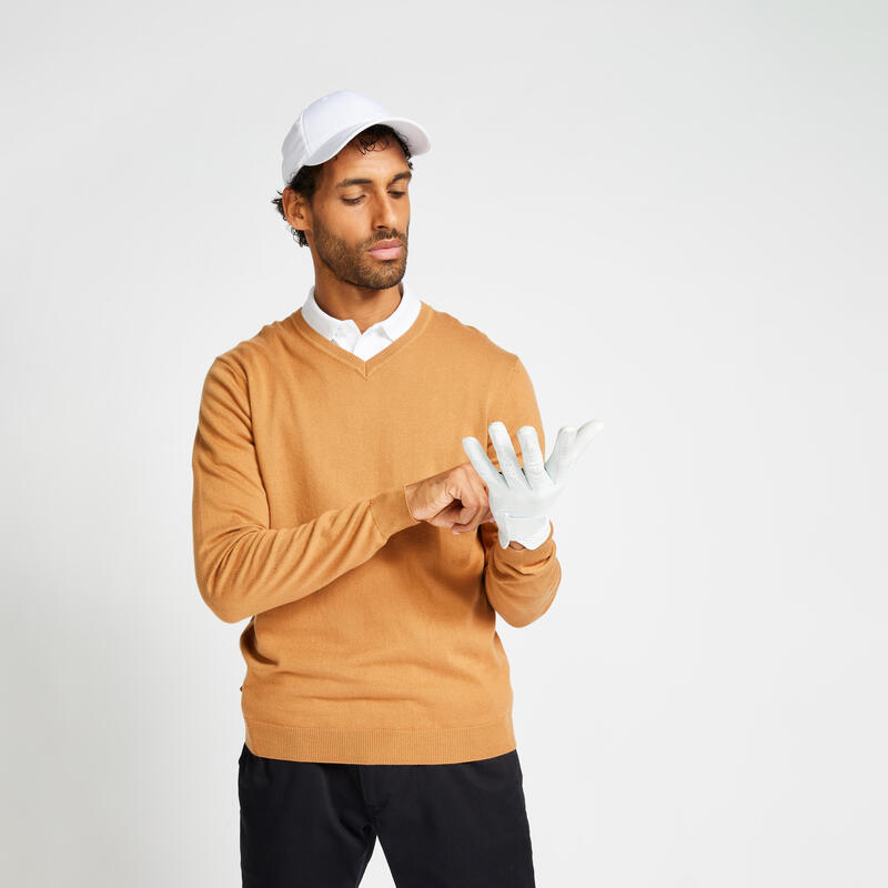 Pull de golf col V homme MW500 noisette